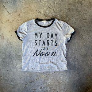 """Small Miami T-Shirt """"Day Starts at Noon"""""""